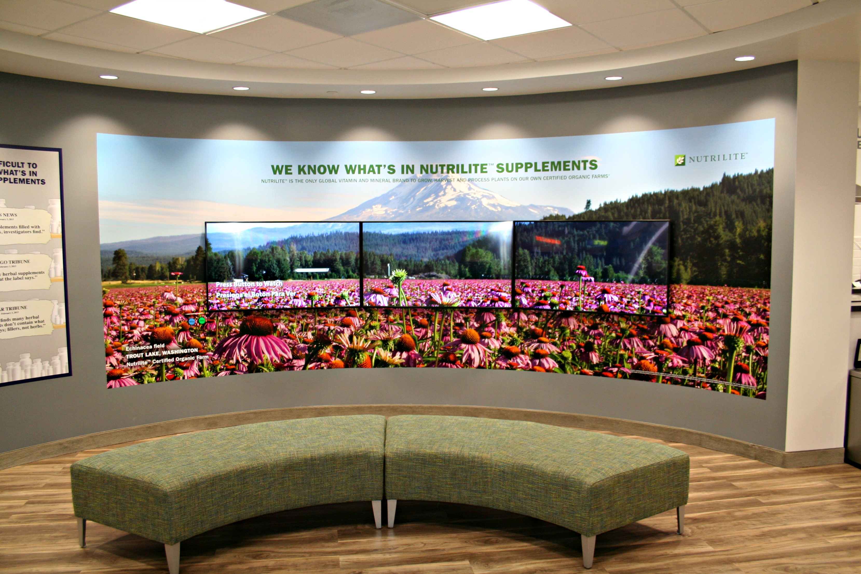 marketing wall mural integrated display screens